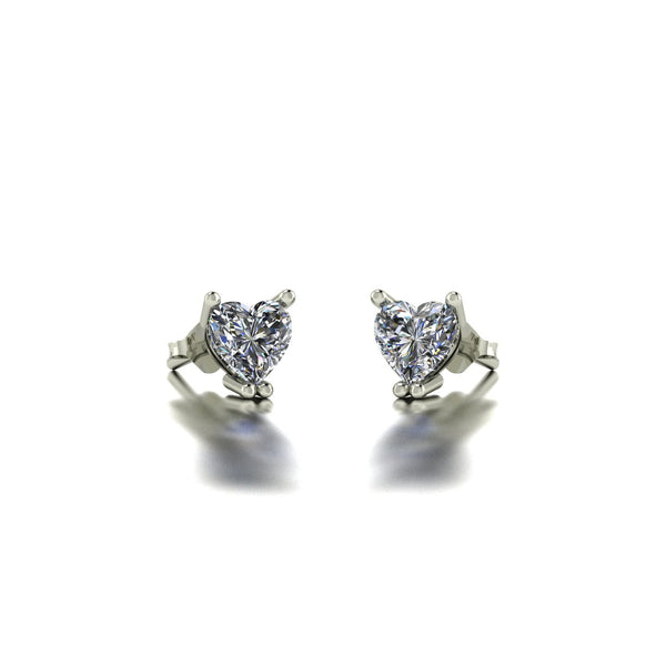 0.50ct (2x 4.5mm) Heart Moissanite Set Earrings