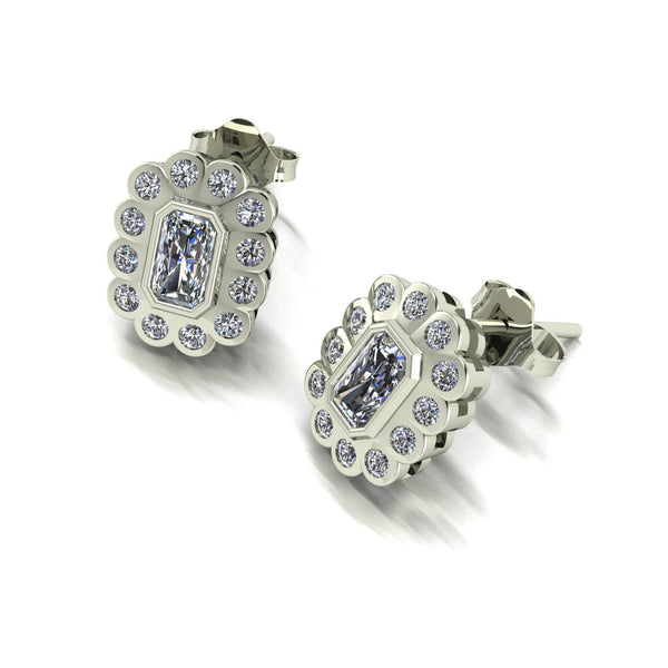 1.00ct (2x 5x3mm & 24x 1.6mm) Radiant & Round Moissanite Set Earrings