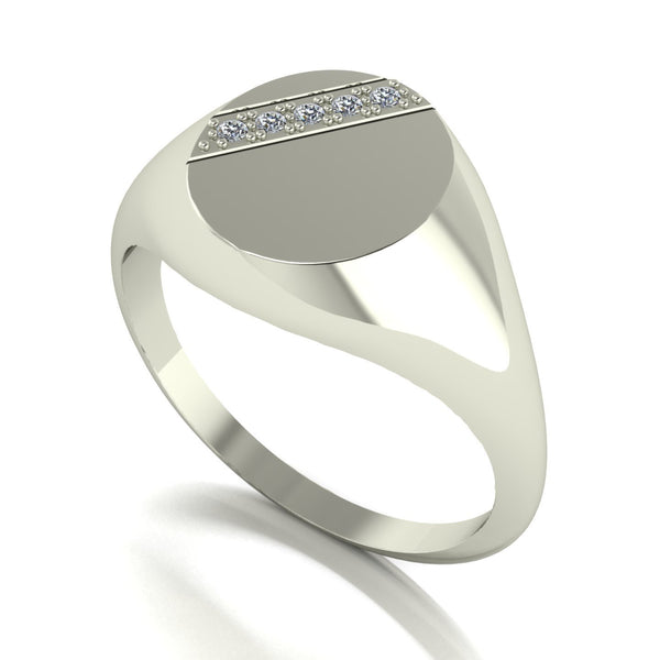 0.05ct (5x 1.3mm) Round Moissanite Set Men's Ring
