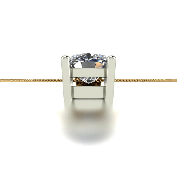 1.10ct (1x 6.0mm) Cushion Moissanite Set Pendant