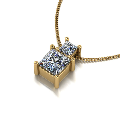 1.00ct (1x 5.0mm & 1x 3.0mm) Square Moissanite Set Pendant