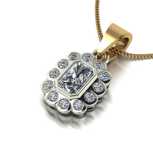1.00ct (1x 6x4mm Rad & 12x 1.6mm Rnd) Radiant & Round Moissanite Set Pendant