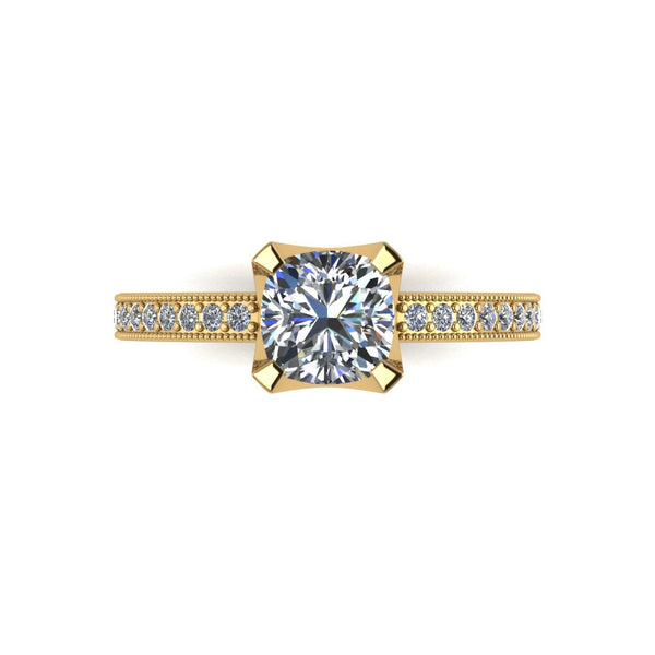 1.30ct (1x 6.0mm Cush & 20x 1.3mm Rnd) Cushion & Round Moissanite Set Shoulder Single Stone Ring