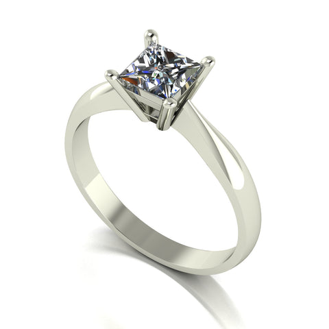 0.80ct (1x 5.0mm) Square Moissanite Set Single Stone Ring