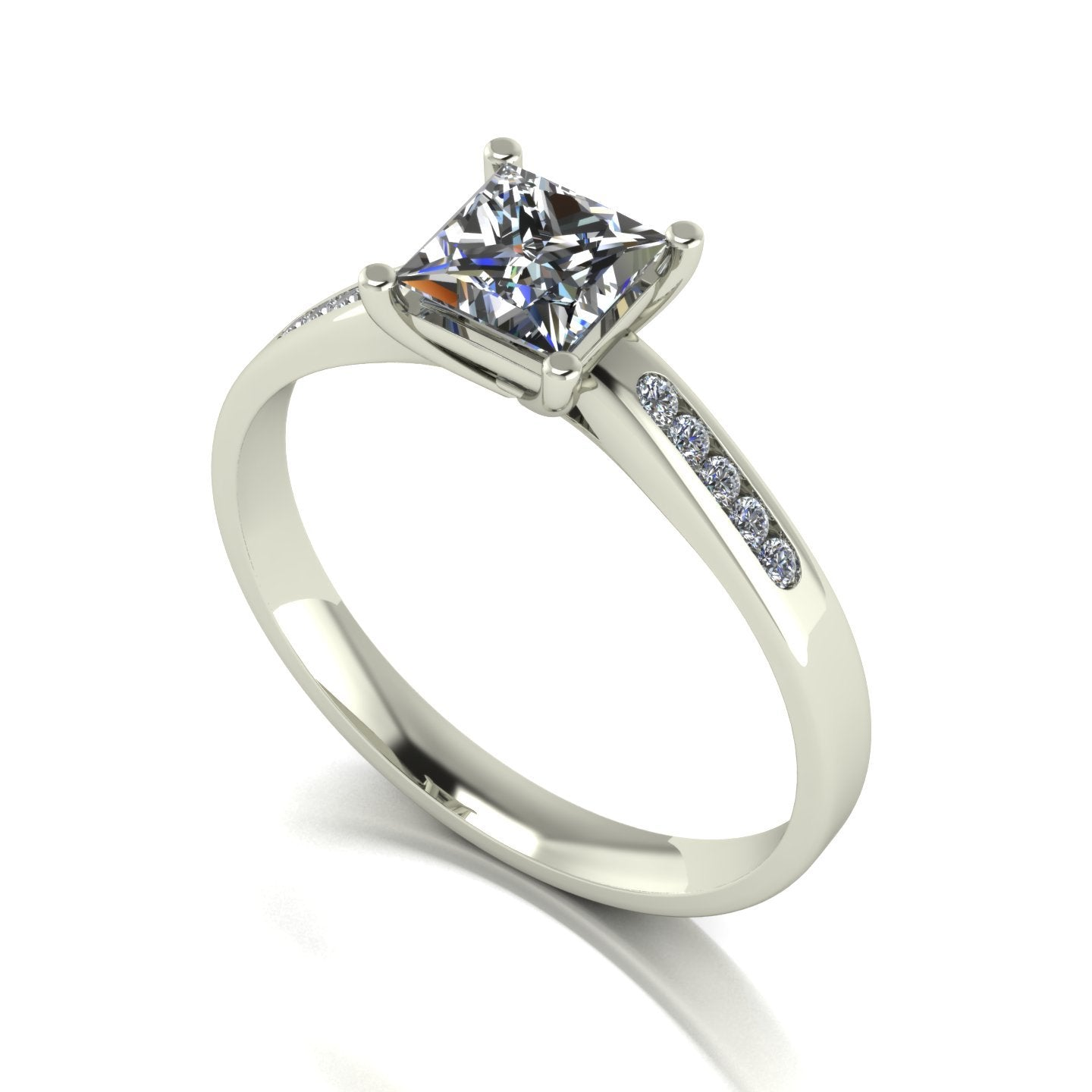 1.15ct (1x 5.5mm Sqr & 10x 1.3mm Rnd) Square & Round Moissanite Set Shoulders Single Stone Ring