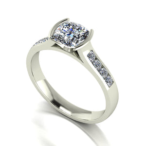 1.40ct (1x 6.0mm Cush & 8x 2.0mm Rnd) Cushion & Round Moissanite Set Shoulder Single Stone Ring