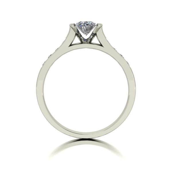 1.00ct (1x 7x5mm Oval & 8x 1.6mm Rnd) Oval & Round Moissanite Set Shoulder Single Stone Ring