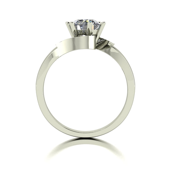 1.05ct (1x 6.5mm & 6x 1.3mm Rnd) Round Moissanite Set Shoulder Single Stone Ring