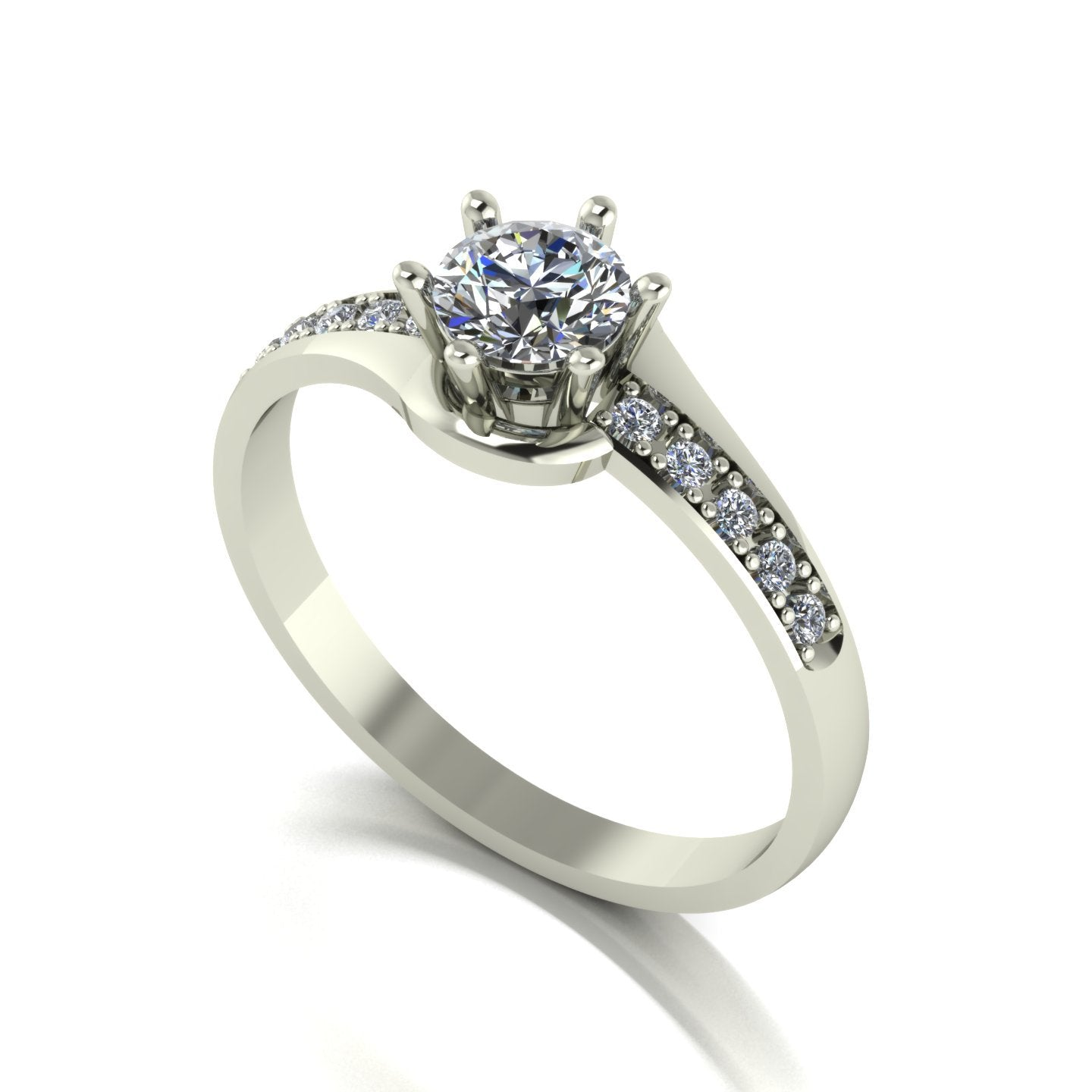 0.60ct (1x 5.0mm & 10x 1.3mm) Round Moissanite Set shoulder Single Stone Ring