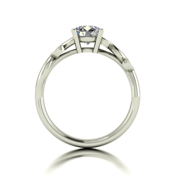 1.05ct (1x 6.5mm & 6x 1.3mm) Round Moissanite Set Shoulder Single Stone Ring