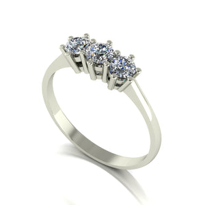 0.50ct (1x 3.5mm & 2x 3.25mm) Round Moissanite Set Three Stone Ring