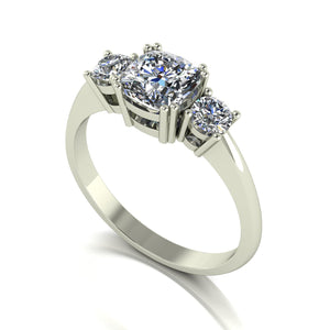 1.40ct (1x 6.0mm Cush & 2x 3.5mm Rnd) Cushion & Round Moissanite Set Three Stone Ring