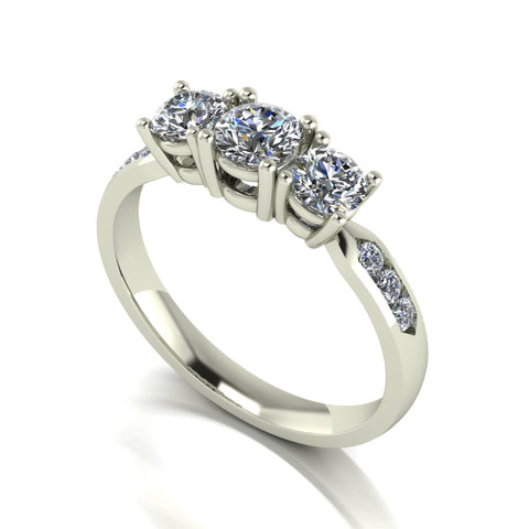 1.00ct (1x 4.5mm, 2x 4.0mm & 6x 1.8mm) Round Moissanite Set Three Stone Ring