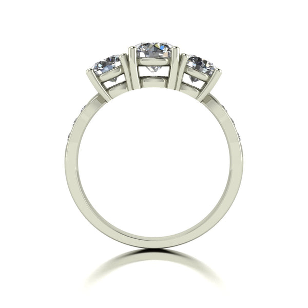 2.00ct (1x 6.0mm, 2x 5.0mm & 6x 1.8mm) Round Moissanite Set Three Stone Ring