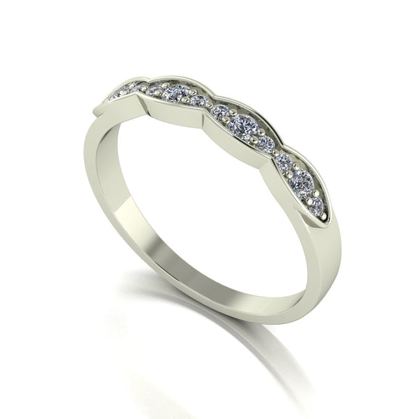 0.25ct (8x 1.3mm & 4x 2.0mm) Round Moissanite Set Eternity Ring