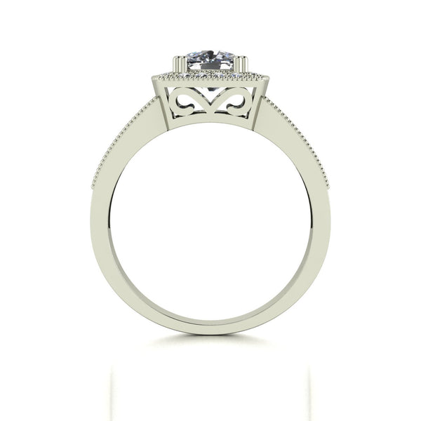 1.85ct (1x 6.0mm Cush & 40x 1.2mm Rnd) Cushion & Round Moissanite Set Cluster Ring
