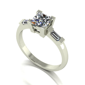 1.30ct (1x 5.5mm Sqr & 2x 4x2mm Bag) Square & Baguette Moissanite Set Cluster Ring