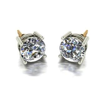 4.00ct (2x 8.0mm) Round Moissanite Set Earrings