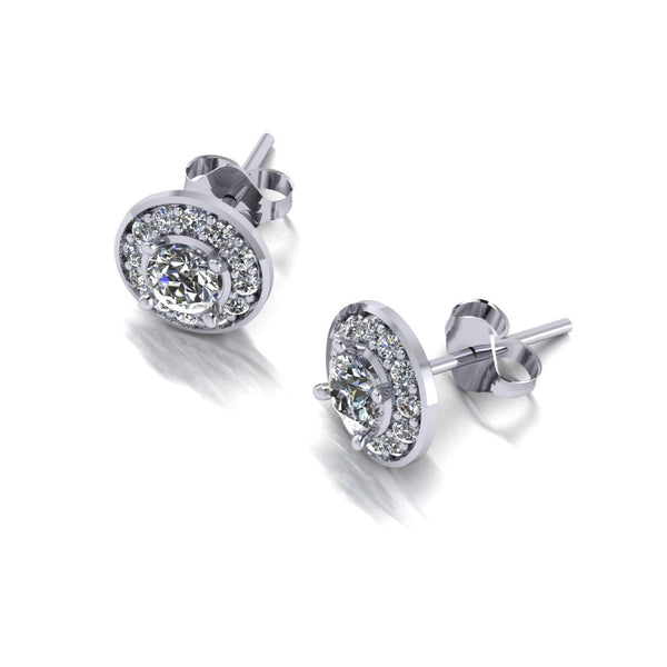 0.78ct (2x 4.0mm & 24x 1.3mm) Round Moissanite Set Earrings
