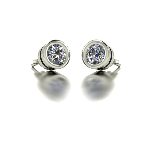 1.00ct (2x 5.0mm) Round Moissanite Set Earrings