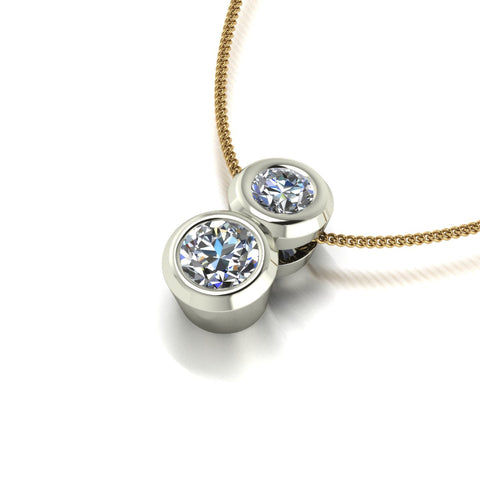 0.75ct (1x 5.0mm & 1x 4.0mm) Round Moissanite Set Pendant