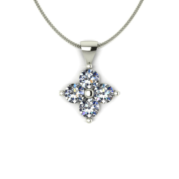 1.00ct (4x 4.0mm) Round Moissanite Set Pendant