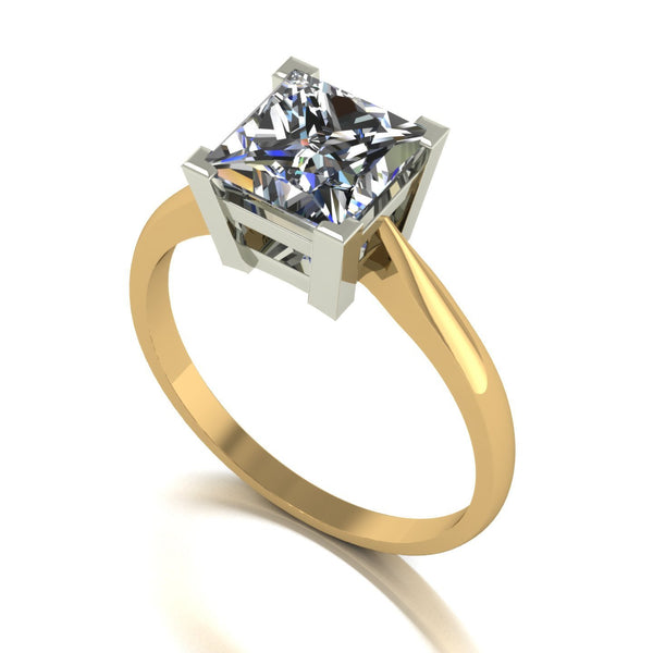 2.10ct (1x 7.0mm) Square Moissanite Set Single Stone Ring