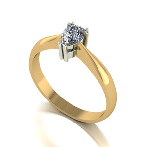 0.45ct (1x 6x4mm) Pear Moissanite Set Single Stone Ring