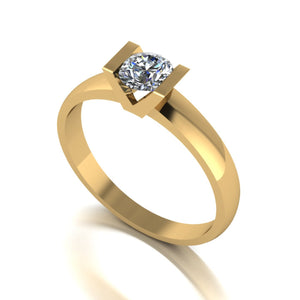 0.50ct (1x 5.0mm) Round Moissanite Set Single Stone Ring