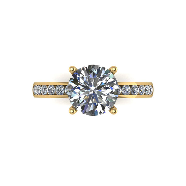 2.30ct (1x 8.0mm & 10x 1.6mm) Round Moissanite Set Shoulder Single Stone Ring