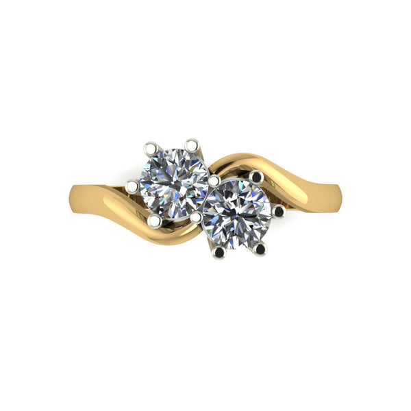 1.00ct (2x 5.0mm) Round Moissanite Set Two Stone Ring