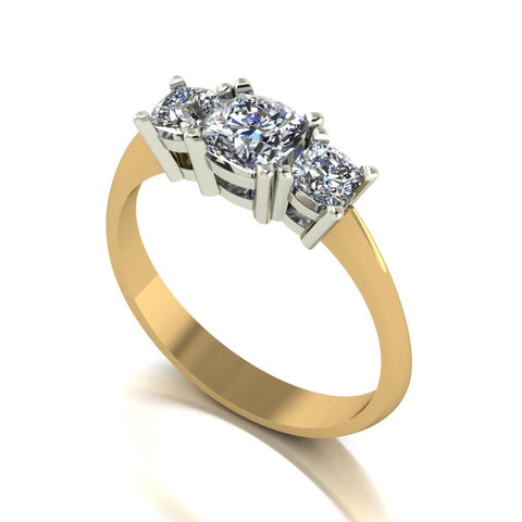 1.00ct (1x 5.0mm & 2x 3.5mm) Cushion Moissanite Set Three Stone Ring