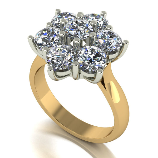 3.50ct (7x 5.0mm) Round Moissanite Set Cluster Ring
