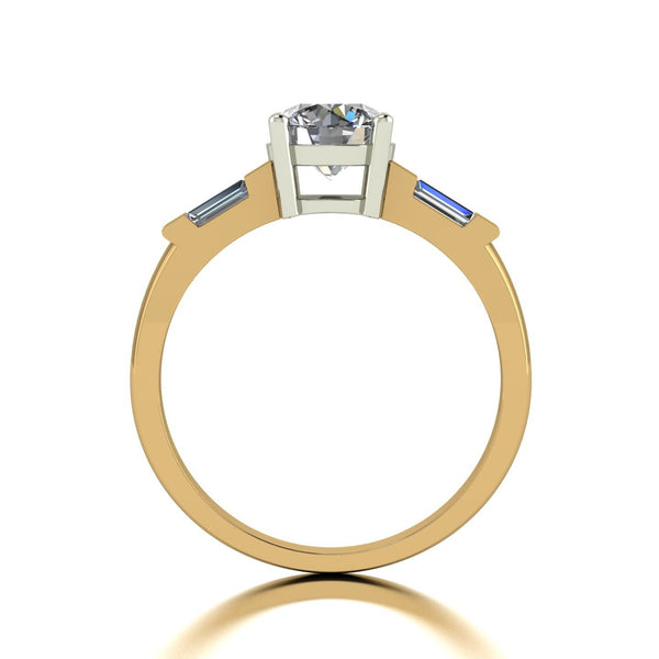 1.25ct (1x 6.5mm Rnd & 2x 4x2mm Bag) Round & Baguette Moissanite Set Shoulder Single Stone Ring