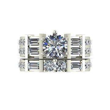 2.50ct (1x 6.5mm & 24x 1.8 & 2x 3.0mm Rnd & 6x 4x2mm Bag) Round & Baguette Moissanite Bridal Set Ring