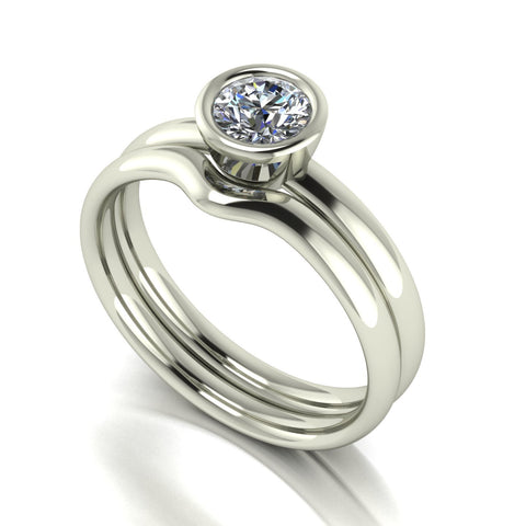 0.50ct (1x 5.0mm) Round Moissanite Bridal Set Ring