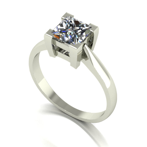 1.33ct (1x 6.0mm) Square Moissanite Set Single Stone Ring