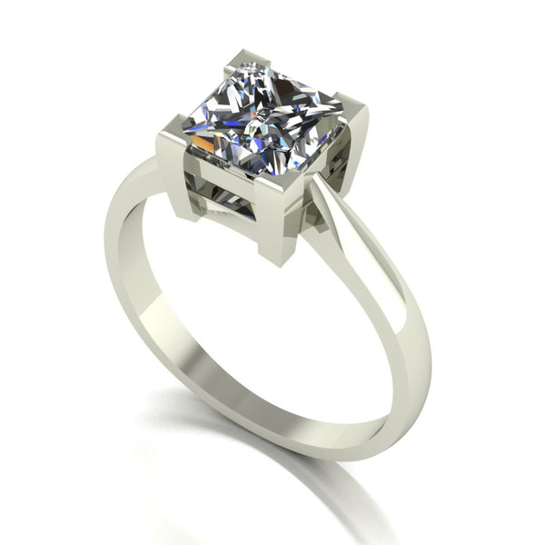 1.60ct (1x 6.5mm) Square Moissanite Set Single Stone Ring