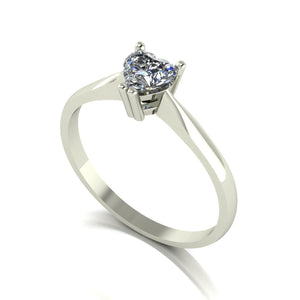 0.50ct (1x 5.0mm) Heart Moissanite Set Single Stone Ring