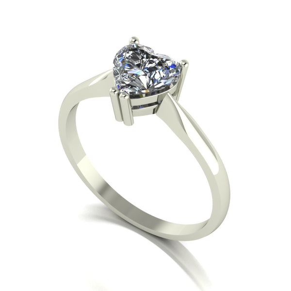 1.00ct (1x 6.5mm) Heart Moissanite Set Single Stone Ring