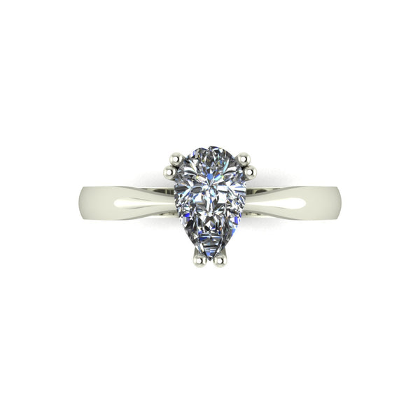 0.95ct (1x 8.0x5.0mm) Pear Moissanite Set Single Stone Ring