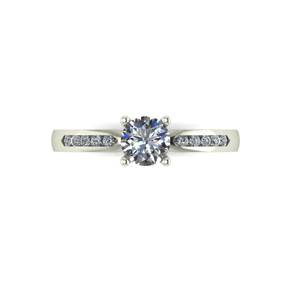 0.60ct (1x 5.0mm & 12x 1.3mm) Round Moissanite Set Shoulder Single Stone Ring