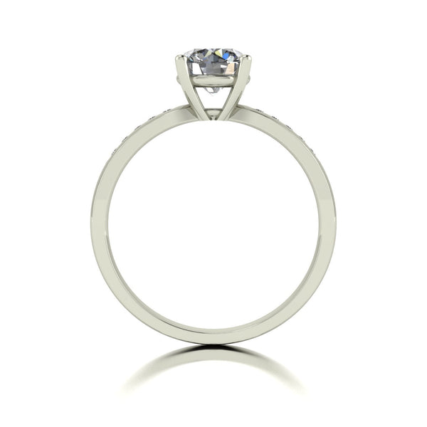 1.10ct (1x 6.5mm & 10x 1.3mm) Round Moissanite Set Shoulder Single Stone Ring
