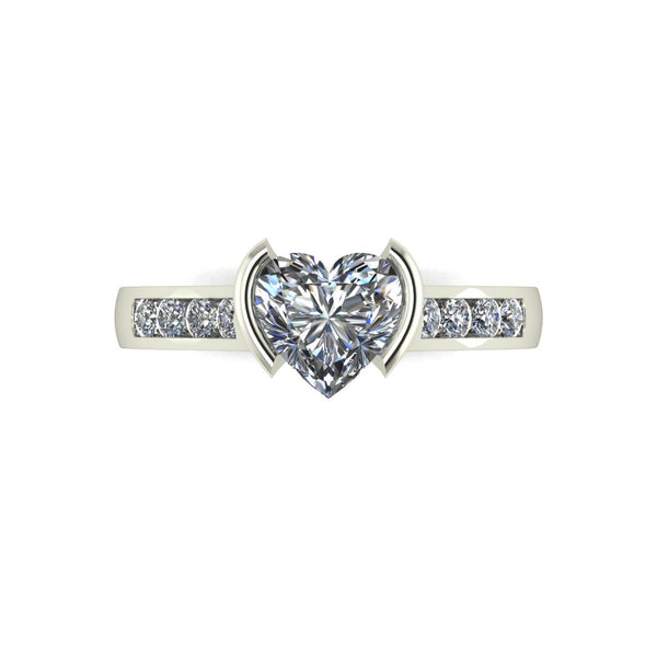 1.12ct (1x 6.5mm Hrt & 8x 1.6mm Rnd) Heart & Round Moissanite Set Shoulder Single Stone Ring