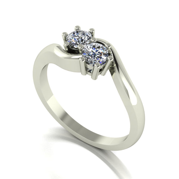 0.50ct (2x 4.0mm) Round Moissanite Set Two Stone Ring