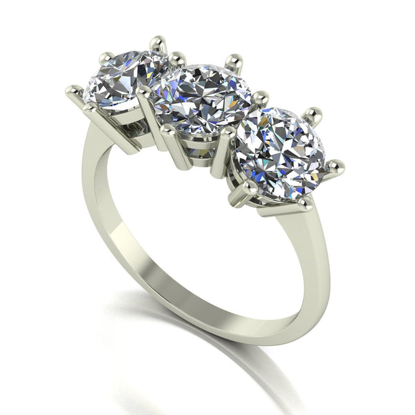 3.00ct (3x 6.5mm) Round Moissanite Set Three Stone Ring