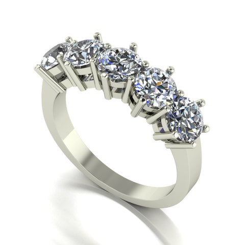 2.50ct (5x 5.0mm) Round Moissanite Set Eternity Ring