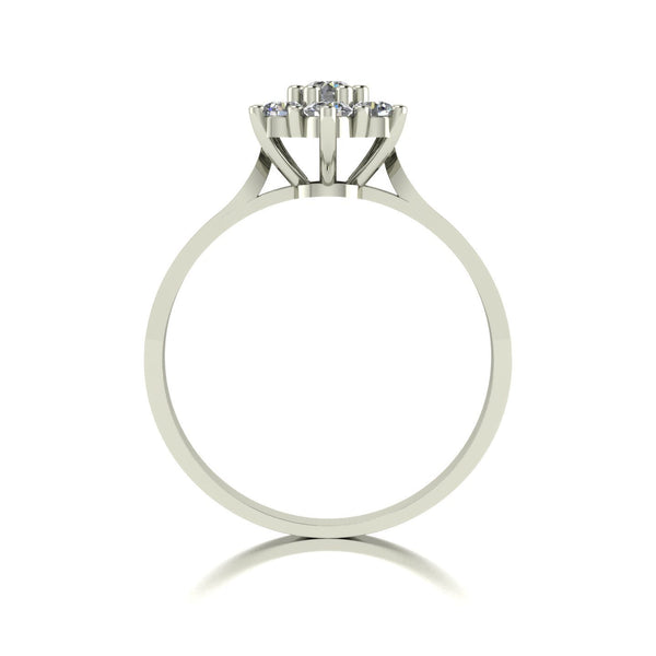 0.50ct (1x 3.0mm & 6x 2.5mm) Round Moissanite Set Cluster Ring
