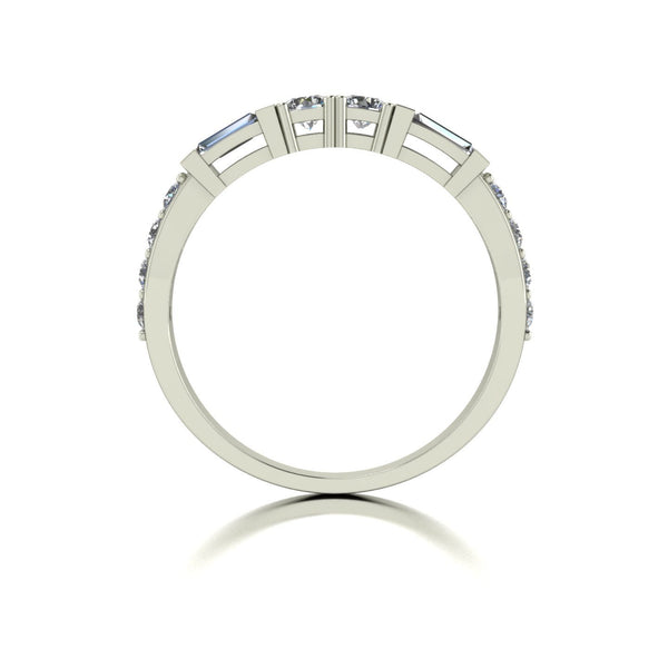 0.70ct (2x 3.0 & 8x 1.8mm Rnd & 2x 4x2mm Bag) Round & Baguette Moissanite Set Eternity Ring