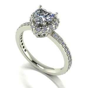 1.50ct (1x 6.5mm Hrt & 50x 1.2mm Rnd) Heart & Round Moissanite Set Cluster Ring